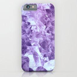 Bright purple quartz crystal cluster iPhone Case