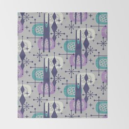 Retro Atomic Mid Century Pattern Grey Teal Blue and Lavender Throw Blanket
