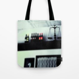 bottles and scales  Tote Bag