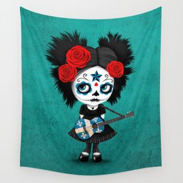 Day of the Dead Girl Playing Quebec Flag Guitar Wall Tapestry
