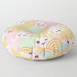 seamless pattern Kawaii with pink cheeks and winking eyes with japanese sakura flower Floor Pillow