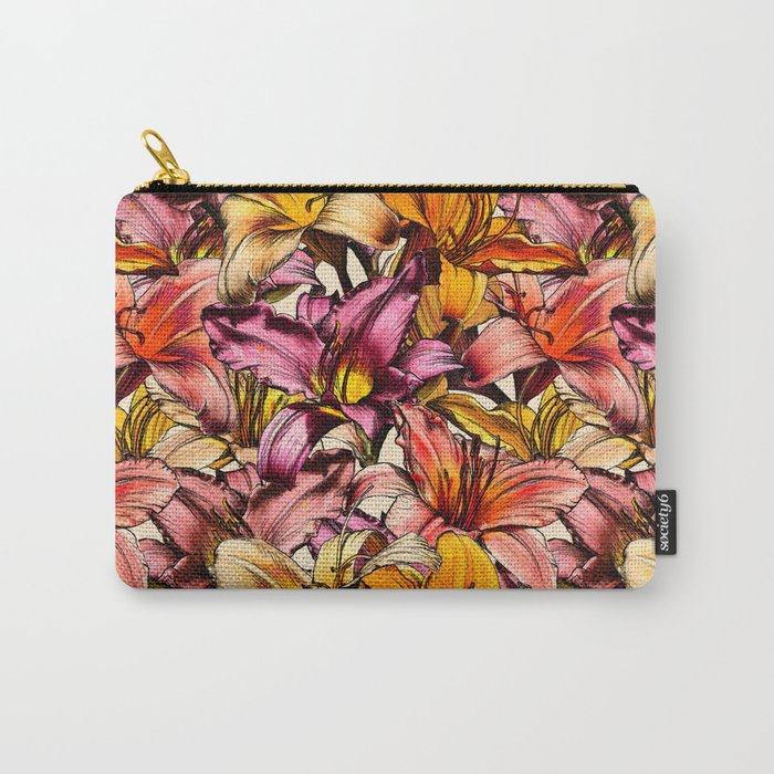 Daylily Drama - a floral illustration pattern Carry-All Pouch