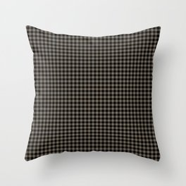 Mini Black and Sandstone Brown Western Cowboy Buffalo Check Throw Pillow