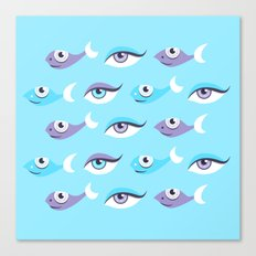 Pattern Of Eyes And Fish In Sea Canvas Print