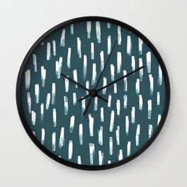 watercolor stripes-peacock blue Wall Clock