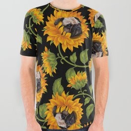 Pug Sunflowers All Over Graphic Tee