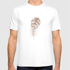 The Solitary Feather Mens Fitted Tee SMALL White