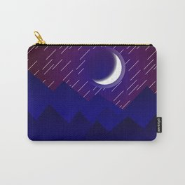 Crescent Moon in Night over the Mountains Nature Abstract art Carry-All Pouch