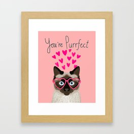 Siamese Cat valentines day gift for cat lady love heart romantic kitten pet friendly present for her Framed Art Print