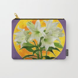 EASTER LILIES ON LILAC GOLDEN MOON ABSTRACT Carry-All Pouch