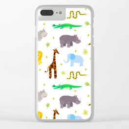 Wild african animals pattern Clear iPhone Case