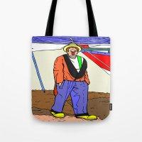 clown Tote Bags featuring clown by Karl-Heinz Lüpke
