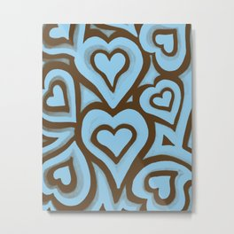 Funky Abstract Zendoodle Hearts Warhol Metal Print