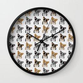 Welsh Corgi Pattern Wall Clock