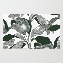 Green leaves print - Apples Rug