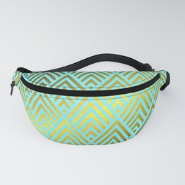 Gold foil triangles on Teal Fanny Pack
