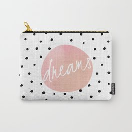 Dreams - Polkadots and Typography on pink background Carry-All Pouch