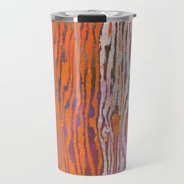Modern Faux Bois Woodgrain Pattern Art Print - Tangerine Orange Travel Mug