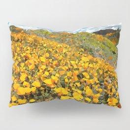California Poppies Low Poly Geometric Triangles Pillow Sham