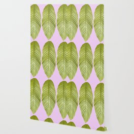 Three large green leaves on a pink background - vivid colors Wallpaper