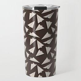 Paper Planes Pattern | White Brown Travel Mug