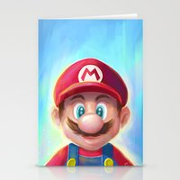 mario kart Stationery Cards featuring Mario Portrait by Laurence Andrew Page Illustrator