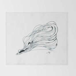'Snowboader in Ribbons of Snow I' Throw Blanket