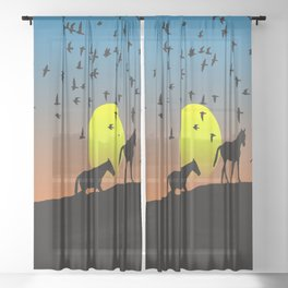 birds animals flying horses Sheer Curtain