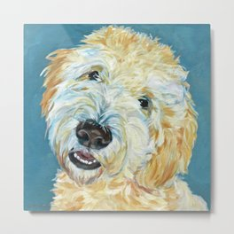 Stanley the Goldendoodle Dog Portrait Metal Print