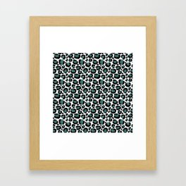 Teal Leopard Animal Print Pattern Framed Art Print