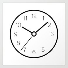 Analog Clock With Missing 4 Set to 10:09:36 Art Print