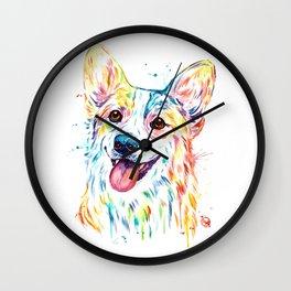 Corgi Colorful Watercolor Pet Portrait Painting Wall Clock