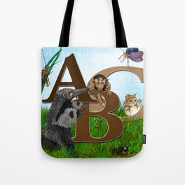 ABC nursery animal print, by Barbara Kilgore green, brown, blue Tote Bag