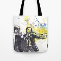 pulp fiction Tote Bags featuring Pulp Fiction by idillard
