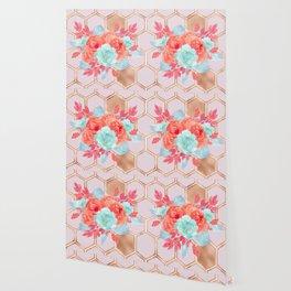 Blush pink hexagons succulent bouquet Wallpaper