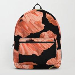 Beautiful Poppy Flowers Black Background #decor #society6 #buyart Backpack