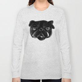 Irritated Sleepy Pug Dog Long Sleeve T-shirt