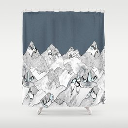 At night in the mountains Shower Curtain