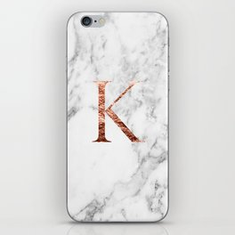 Monogram rose gold marble K iPhone Skin