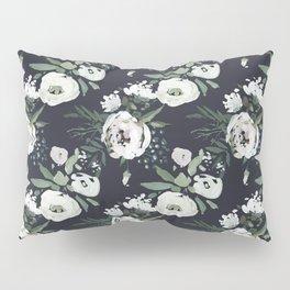 Blush pink white green black watercolor modern floral Pillow Sham