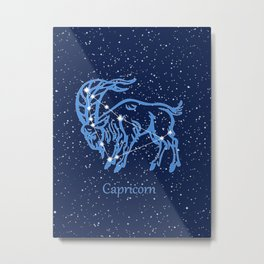 Capricorn Constellation and Zodiac Sign with Stars Metal Print