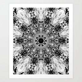 Blac White Mandala Abstract Art Print