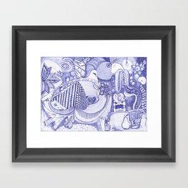 The Worm Drinks Green Tea Ink pen Drawing Framed Art Print