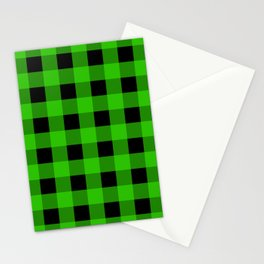 Grass Green and Black Buffalo Check Stationery Cards
