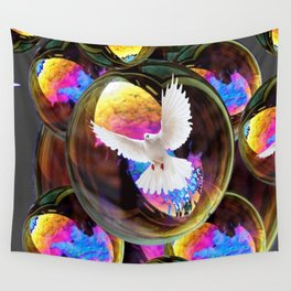 SURREAL WHITE DOVES & IRIDESCENT  SOAP BUBBLES Wall Tapestry