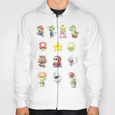Mario Characters Watercolor Geek Gaming Videogame Hoody