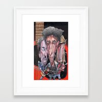 bruce springsteen Framed Art Prints featuring Dylan, Springsteen, and Young by Alan Carlstrom
