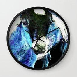 Goat Pop Art - Blue - Sharon Cummings Wall Clock