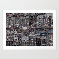 the neighbourhood Art Prints featuring Parisian Neighbourhood by Guillaume Cornet