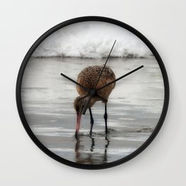 Marbled Godwit Reflections Wall Clock